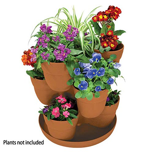 Emsco Group EMSCO Bloomers Stackable Flower Tower Planter – Holds up to 9 Plants – Great both Indoors and Outdoors – Terra Cotta