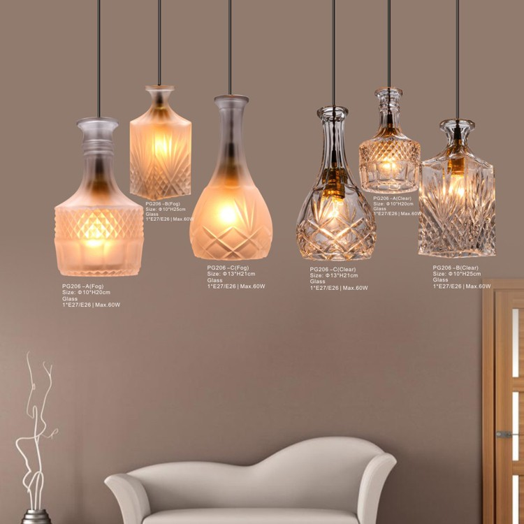 Indoor New Pendant Light Glass Vintage Lamp Painting Simple Style E27 220V For Decor