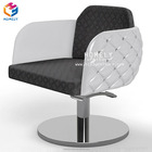 Stainless Steel Adjustable Rotate Base Leather Upholstered Seat Back Rest Modern Chairs Furniture Salon Styling Chairs