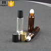 clear tube glass roll on bottle with stainless steel roller ball
