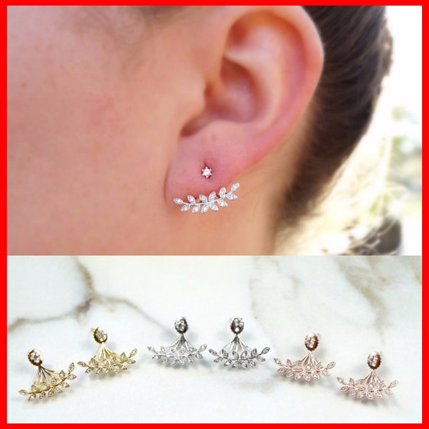 Gold filled gold plated 14k 18k customized arround ear 2018 new design encircle cz stud earring