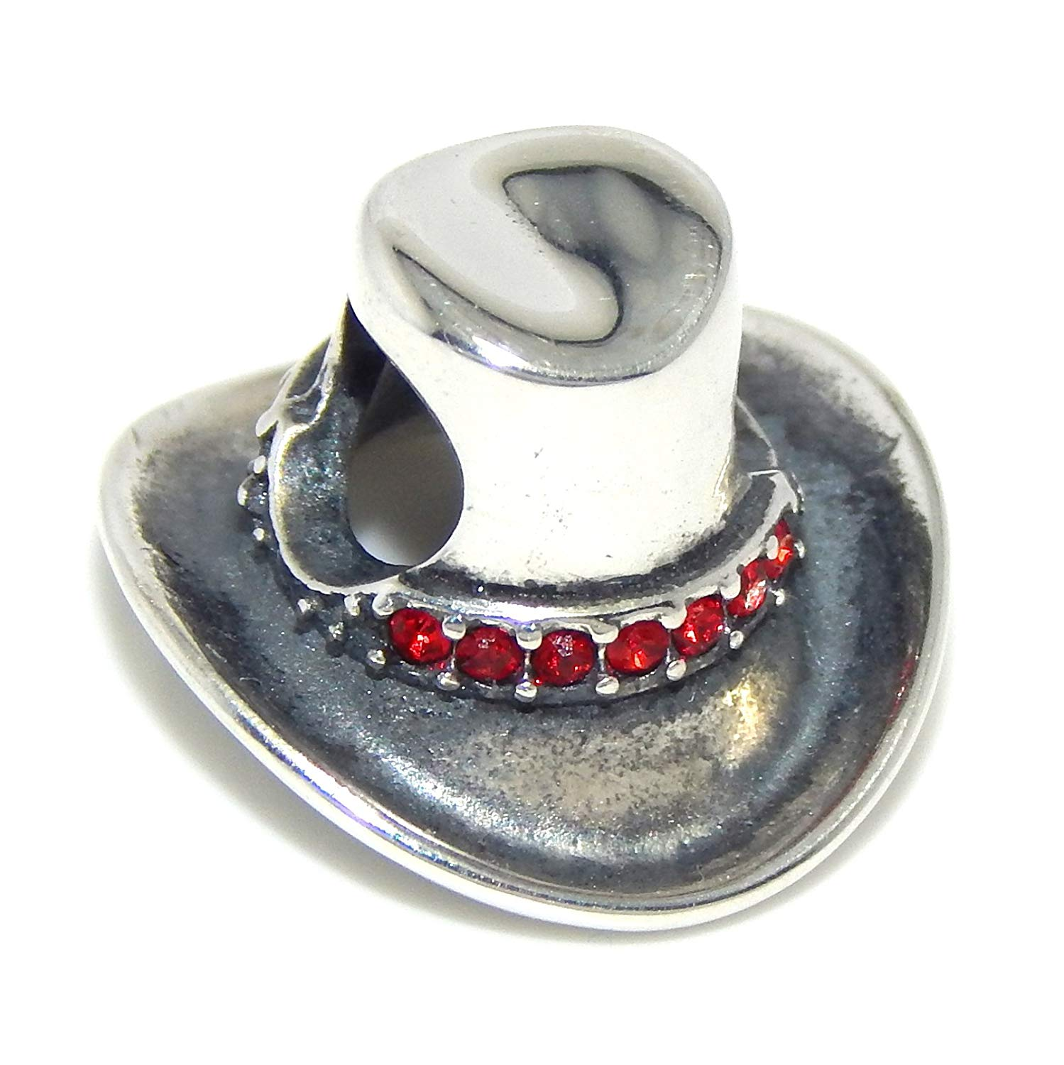 "Pro Jewelry .925 Sterling Silver ""Red Crystal Cowboy Hat"" Charm Bead for Snake Chain Charm Bracelet"