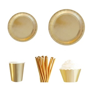 Wholesale Banquet Birthday Party Decorations Supplies Plates Cups Cake Wrappers Soild Foil Gold Disposable Paper Tablewares
