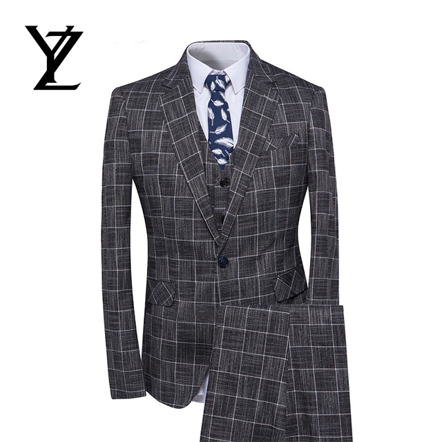 2019 New Arrival Men Suit 3 Pieces Classic Plaid Suits Men Business Suits Slim Fit Fashion Design Suits Black Customized Buy At The Price Of 45 00 In Alibaba Com Imall Com