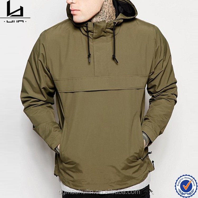 Men fashion clothes fixed hood side pockets windbreaker pullover jacket