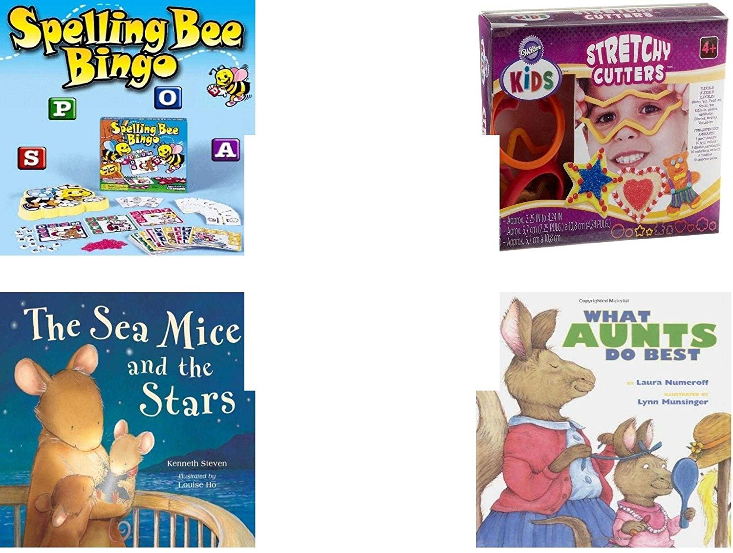 Children's Gift Bundle - Ages 3-5 [5 Piece] - Spelling Bee Bingo Game - Wilton Kids Stretchy Silicone Cookie Cutter Set, 10-Piece - Ty Beanie Baby - Beani the Gray Cat - Sea Mice & the Stars Hardcov