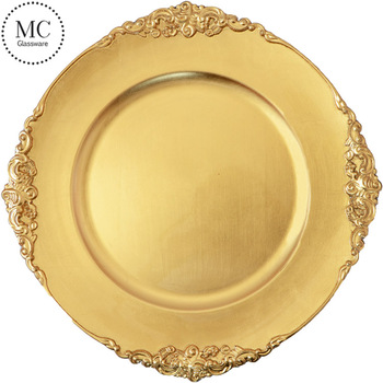 Wholesale elegant plastic gold disposable plates