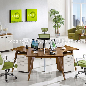 Triangle workstation,Wooden office desk with partition/ call center workstation,workstation for 3 persons