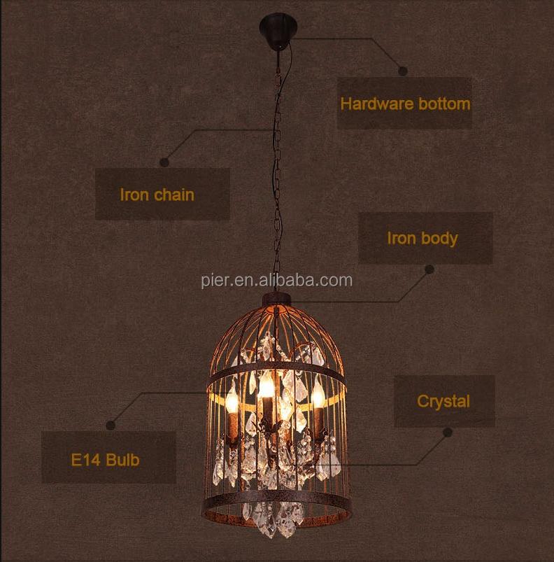 Nordic Vintage Eisen Lampe Restaurant Dekoration E14 Birdcage Kristall  Kronleuchter
