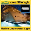 DC 8-28v colorful marine yacht underwater RGB led light cree 36W for tour boat