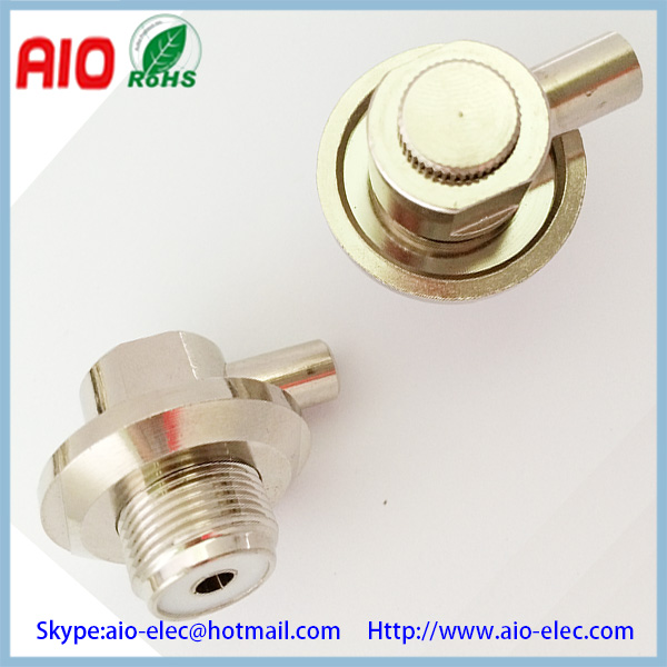 right angle UHF female twist lock on RF connector SO 239