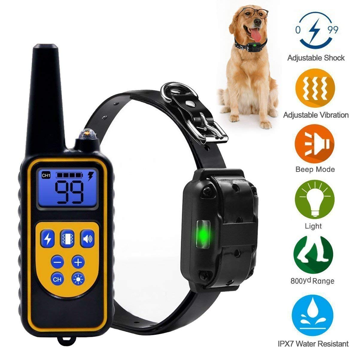 PetDepot Dog training collar with remote Dog Training Collar,Petsky Waterproof and Rechargeable Electric Pet Shock Collar,330 Yards Range Remote with Vibration,
