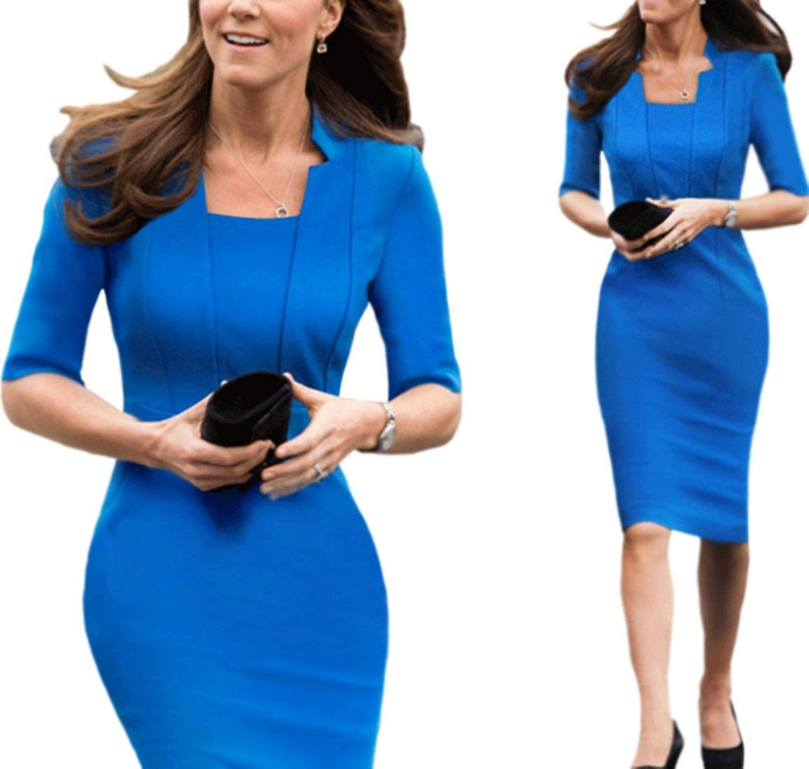 673f377acf6ee Get Quotations · Unomatch Kate Middleton Wrinkle Based Top Collar Neck Knee  Length Dress Blue