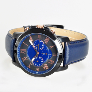 High quality dress mens watches Black Stainless Steel Quartz Navy Leather fossill wristwatches 44mm