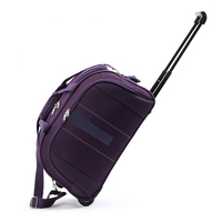 Custom polyester sky travel trolley bags travel trolley luggage bag with 2 wheels