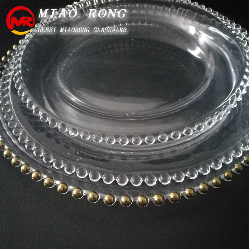 China factory wedding clear beaded glass charger plates
