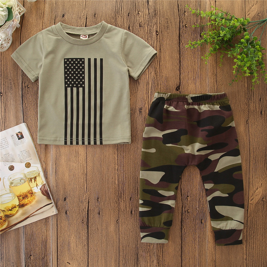 Baby Boy Summer Clothes Flag Camouflage Letter Print T-shirt Tops Shorts 4th Of July Sets boys Summer cotton clothing set, As picture