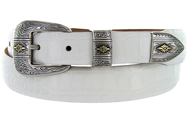 Mesa Gold - Men's Italian Calfskin Designer Dress Golf Belt with Western Silver Plated Buckle Set (44 Alligator White)