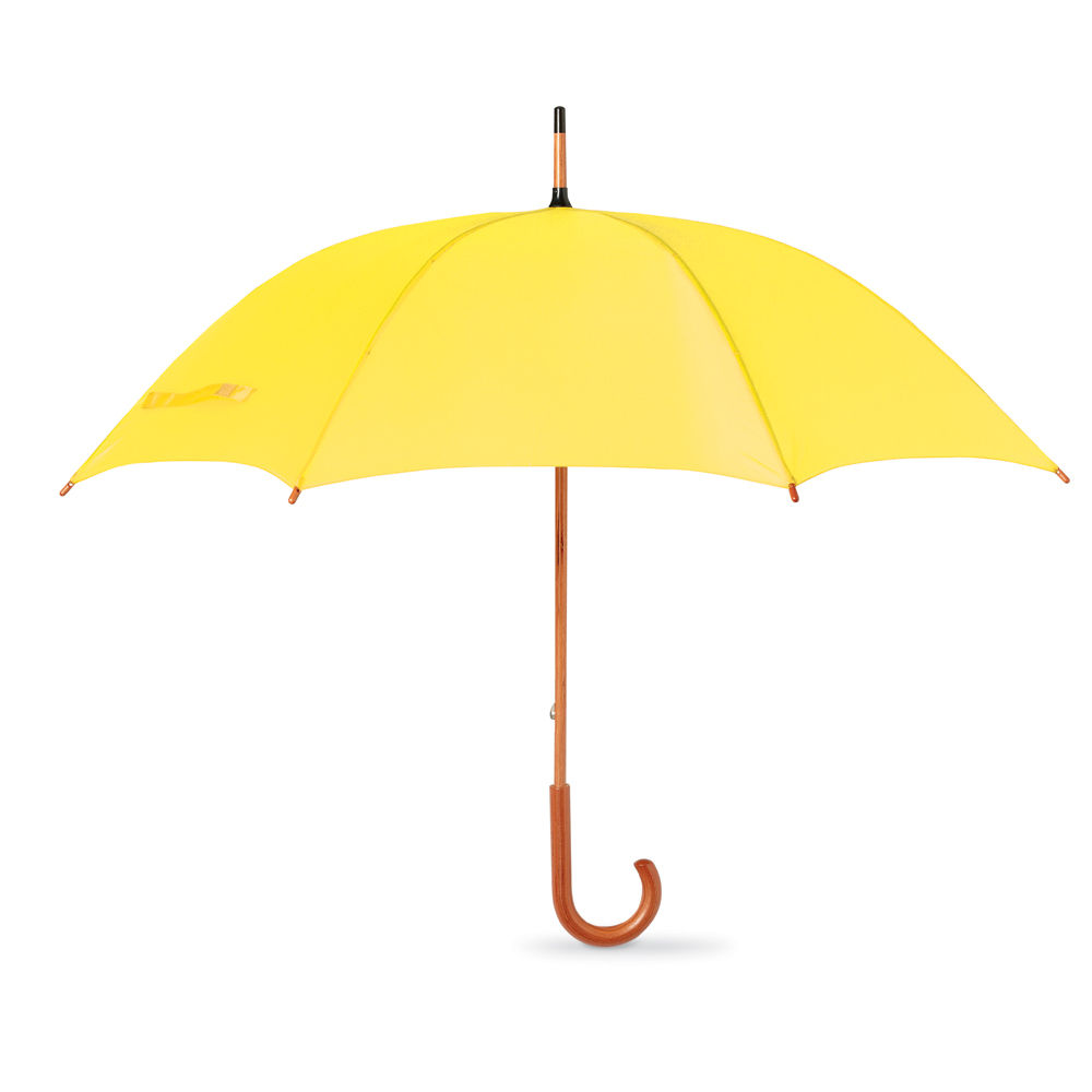 Yellow color Automatic Promotional Umbrella with a wooden hook handle Sun umbrella KF448
