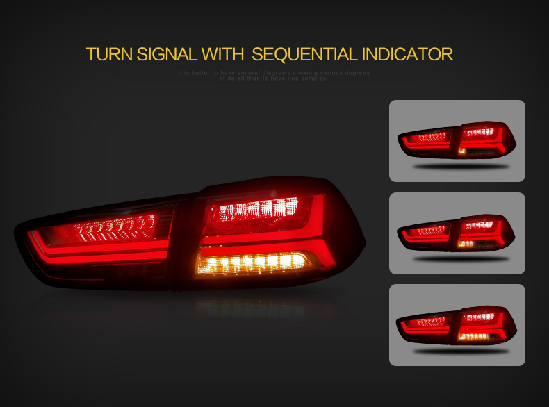 VLAND wholesales accessories Galant/ Lancer Fortis rear light 2008-2017 modificada led lancer ex tail light
