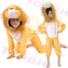 Yellow children's carnival animal mascot costume lion jumpsuit in fleece