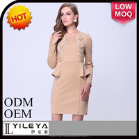 2014 long sleeve elegant ladies office wear dresses dress designs with bead decoration