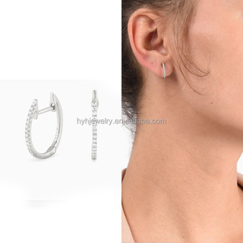 New Jewelry Designs 925 Silver Cz Huggie Earring Young Lady Ear Ring Models
