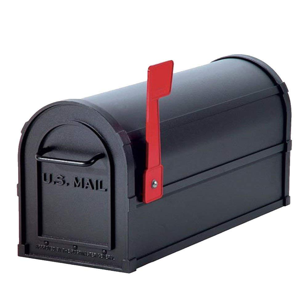 Wrought Iron Mailbox By MWShop Heavy-duty Rural Mailbox Color Black With Red Flag Adds A Charming Touch It is Sturdy And Lovely Crafted Of Sturdy Die-Cast Aluminum Will Last For Years To Come
