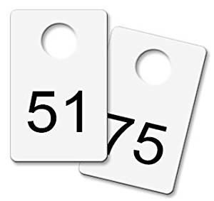 Coat Check Tags - White Metal (Numbered 51-75)