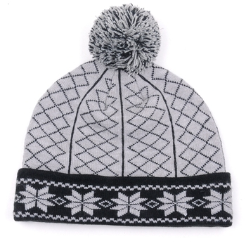 Fashion Jacquard Knitting Womens Winter Cap With Ball On Top - Buy ... 4365f8b6383