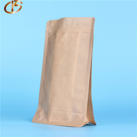 2018 Manufacture New Products Food Packing Customize Stand up Zip lock Bag Kraft Paper with Flat Square Bottom