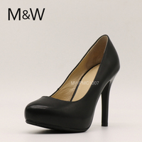 Black genuine leather high heel dress shoes for ladies