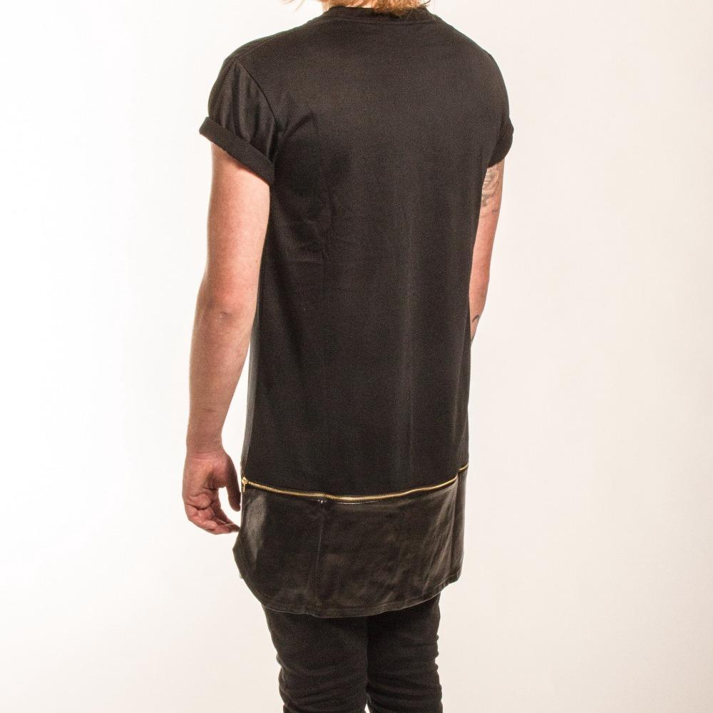 28784d69bf54 Buy New cool tyga T shirt Leather gold Zipper Length oversized Gold side zipper  T shirt Tee men Streetwear tartan long tee T shirt in Cheap Price on ...