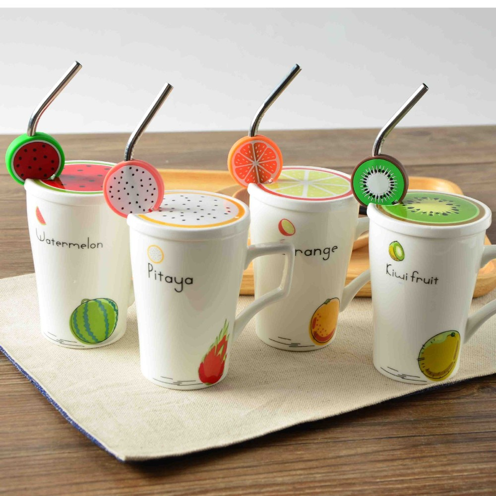 New Design Breakfast Milk Cup Fruit Pattern Porcelain Coffee Cup With Cover Ceramic Mug With Straw