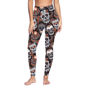 Best Quality Skull Print Pocket High Waist Brushed Scrunch Butt Leggings For Women
