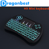Factory Supply H9 Mini QWERTY Keyboard Colorful Backlight air mouse with Backlit With the Best Quality 2.4g wireless air mouse