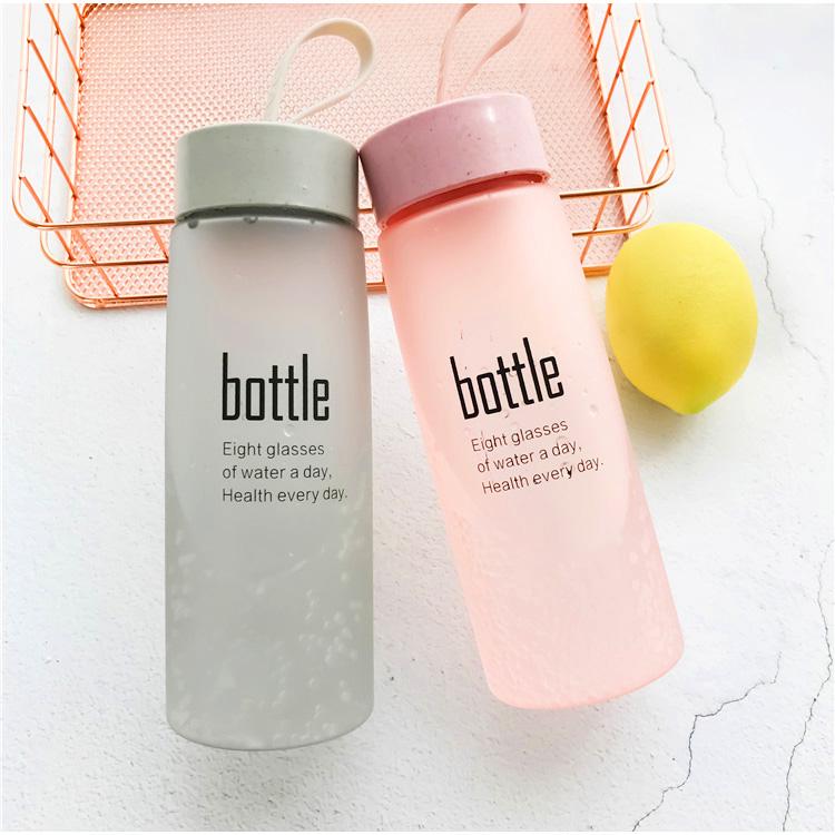 520ml paglia di grano di plastica bottiglia di acqua con la corda, glassato di vetro dello spruzzo bottiglia di Commercio All'ingrosso