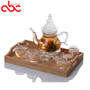 Wholesale Clear Heat Resistant Borosilicate Glass Teapot and Warmer Set