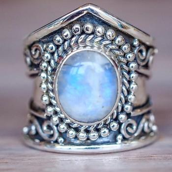 R556 Huilin Wholesale latest design European ancient moonstone rings black agate rings turquoise engagement rings for Unisex