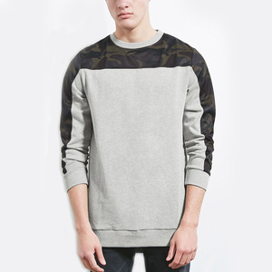 Custom mens crewneck leather printed sleeve french terry sweatshirt plain