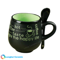 13ounce coffee life design ball shape matte black ceramic cup with spoon