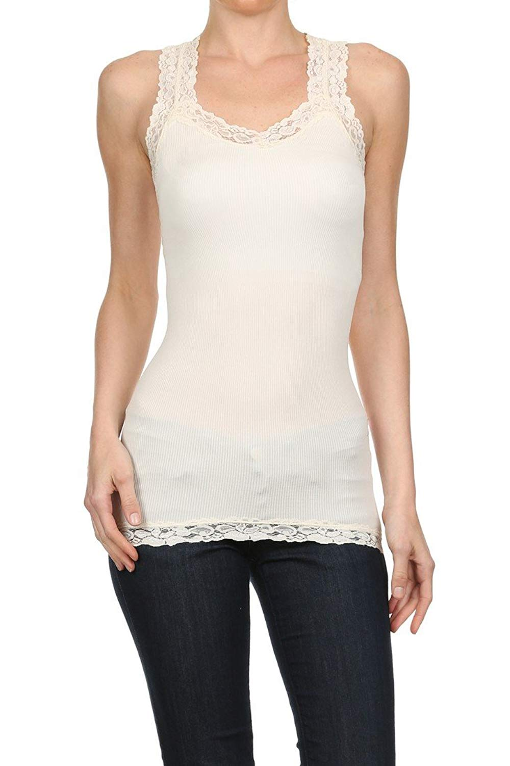 670d60e5e407a8 Get Quotations · ICONOFLASH Stretchy Nylon Racerback Tank Top with Stretch  Lace Trim