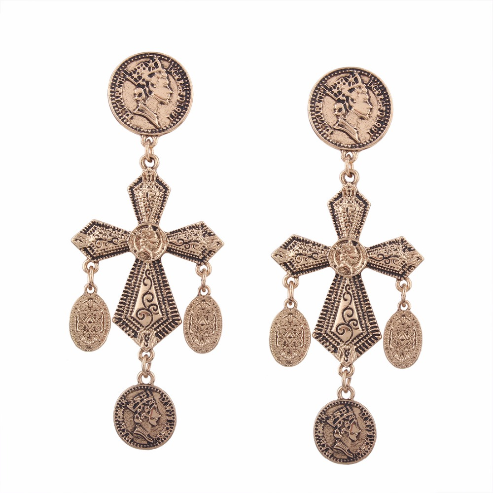 Fashion accessories antique mens tanishq diamond earringspattern carved earrings cross alloy earring silver 925