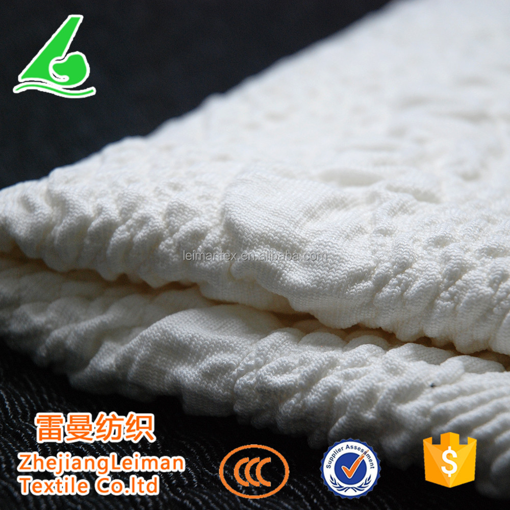 Fashion White Jacquard Thick Knitted Fabric for Women Dresses