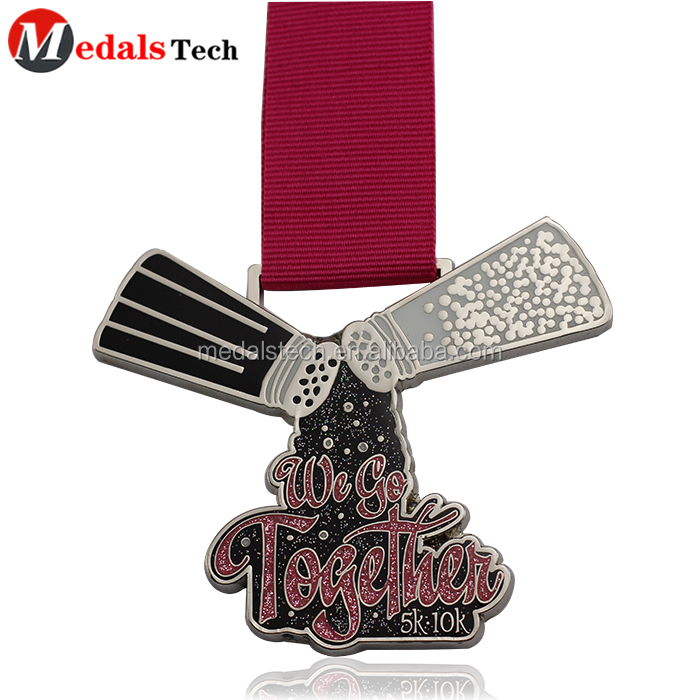 Antique silver custom cheap metal running medal for virtual run
