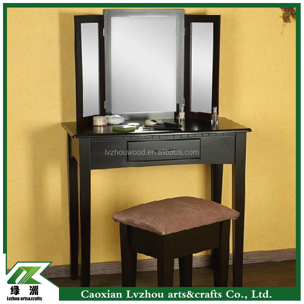 Black Modern K/D Wooden Dressing Table With Mirror