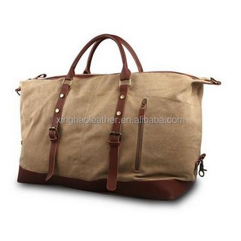 Uni Oversized Canvas Leather Weekender Bag Overnight Travel Duffle Whole Waxed With