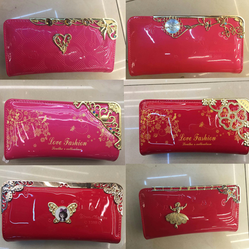 2016 Fashion chinese red pu leather wallet with double zipper for india market