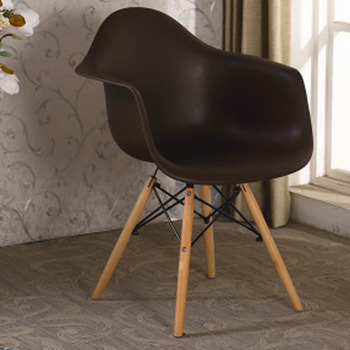 Living Room Furniture Used Simple Comfortable Armrest Plastic Seat With Wooden Legs Leisure Chairs