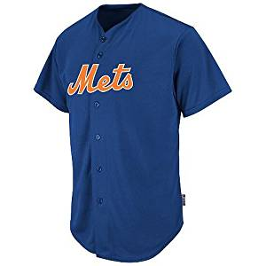 dfa1873bd Get Quotations · New York Mets CUSTOM or BLANK BACK Full Button Major  League Baseball Cool-Base Replica